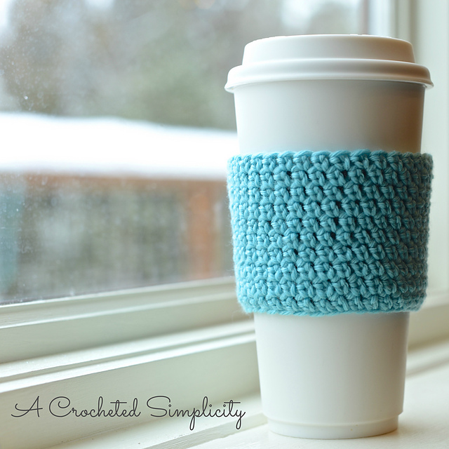 stretchy coffee sleeve crochet pattern