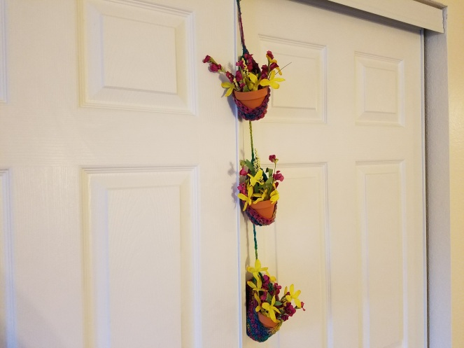 crocheted hanging planter