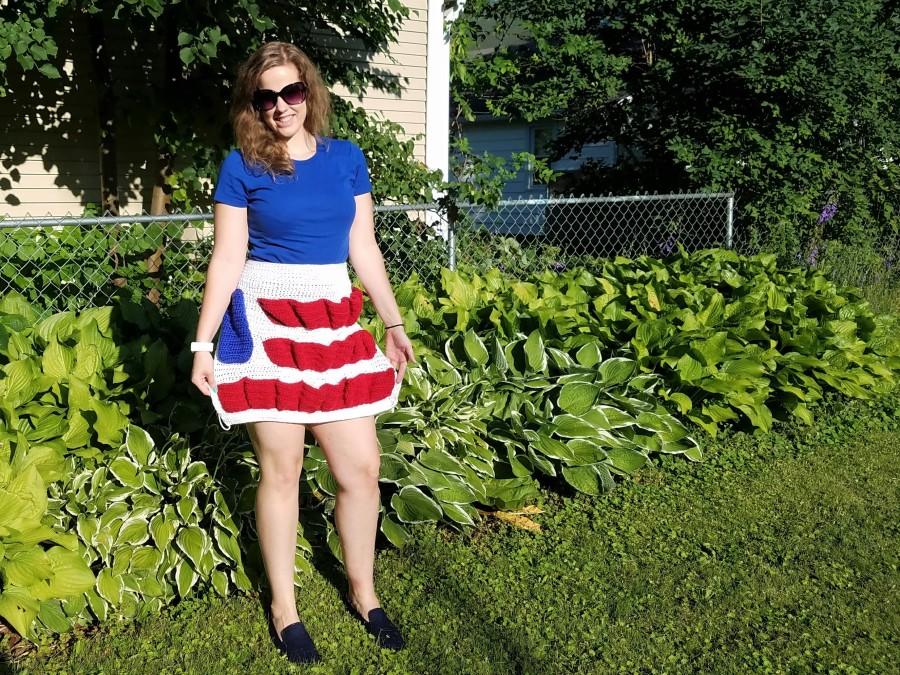 american flag egg apron